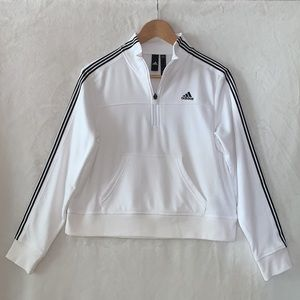 NWOT✨ADIDAS White Cropped 1/4 Zip Pullover Size S
